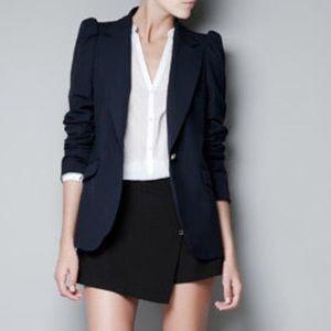 Zara Puff Shoulder Navy Blazer